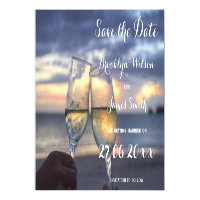 Magnetic Sunset On The Beach Wedding Save The Date Magnetic Card