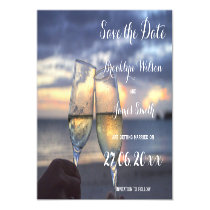Magnetic Sunset On The Beach Wedding Save The Date Magnetic Invitation