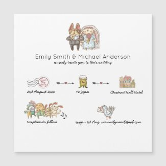 Magnetic Whimsical Timeline Wedding Invitations