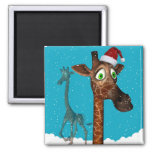 Magnetita de la jirafa del navidad imán cuadrado