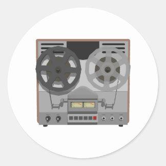 Magnetófono de carrete: modelo 3D: Pegatina Redonda
