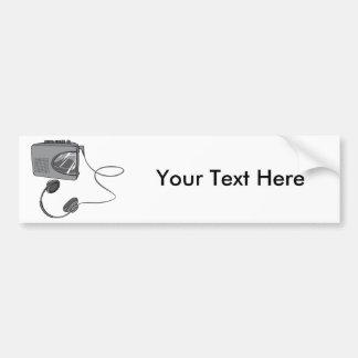 Magnetófono portátil de casete pegatina de parachoque