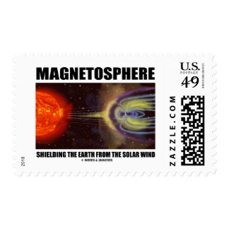 Magnetosphere Shielding Earth From Solar Wind Postage Stamp