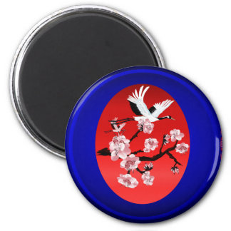 Magnets-Flying Crane and Sun-(midnight blue backgr 2 Inch Round Magnet