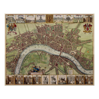 Magnificent 17th century Map of London England Poster