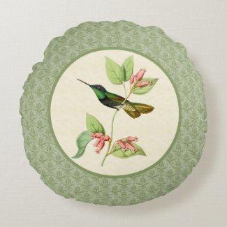 Magnificent Hummingbird Damask Round Pillow