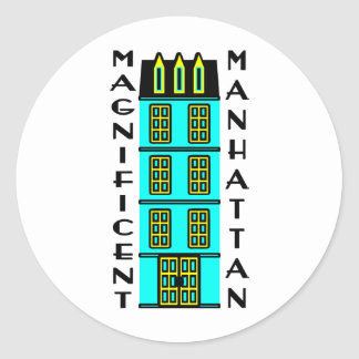 Magnificent Manhattan With Luxury NYC Townhouse Classic Round Sticker