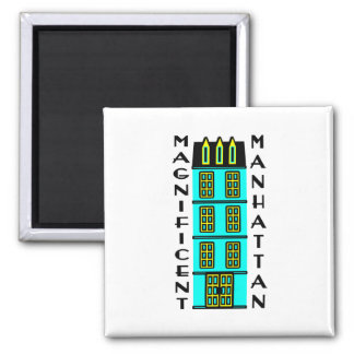 Magnificent Manhattan With Luxury NYC Townhouse 2 Inch Square Magnet