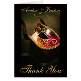 Magnificent Masqurade Mask Thank You Note Card