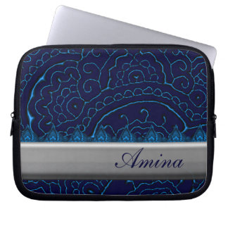 Magnificent Mehndi Mandalas (Blue) Computer Sleeve