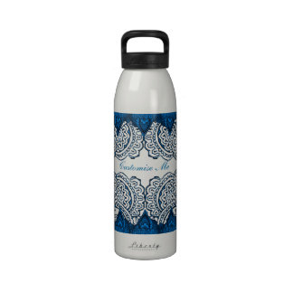 Magnificent Mehndi Mandalas (Blue) Reusable Water Bottle