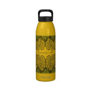 Magnificent Mehndi Mandalas (Gold Effect) Reusable Water Bottle