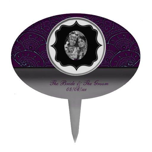 Mehndi Cake Topper : Magnificent mehndi mandalas purple wedding cake topper