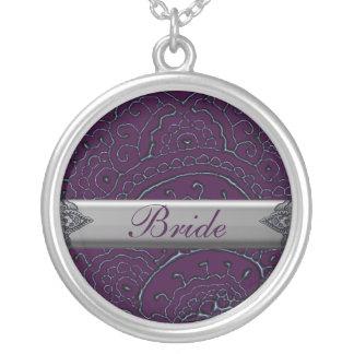 Magnificent Mehndi Mandalas (Purple) Wedding Personalized Necklace