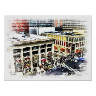 Magnificent Mile Shopping Print