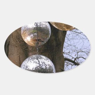 Magnificent! Mirror Balls Oval Sticker