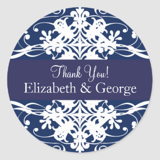 Magnificent Navy Blue Thank You Labels Sticker