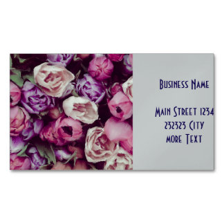 magnificent painted flowers business card magnet