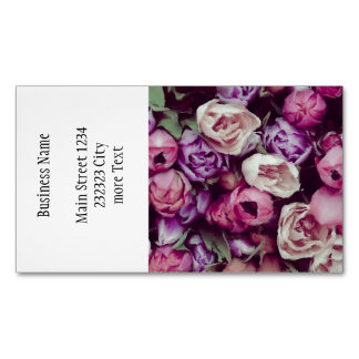 magnificent painted flowers magnetic business card