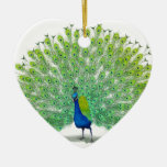 Magnificent Peacock Art Double-Sided Heart Ceramic Christmas Ornament