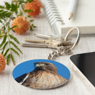 Magnificent Red-Tailed Hawk in the Sun Keychain