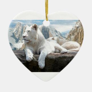 Magnificent White Tiger Mountain Backdrop Ceramic Ornament
