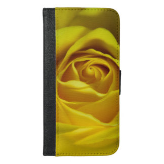Magnificent yellow rose macro picture iPhone 6/6s plus wallet case