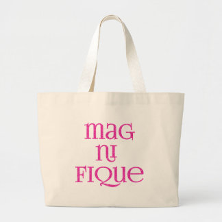 Magnifique in Pink Glittery Text Large Tote Bag