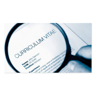 magnifying glass and cv business card