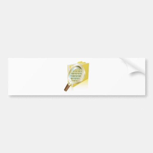 Magnifying glass binary data file folder concept bumper sticker