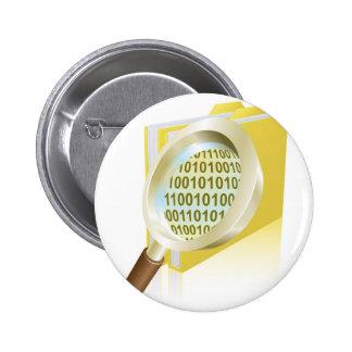 Magnifying glass binary data file folder concept pin