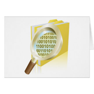Magnifying glass binary data file folder concept greeting card