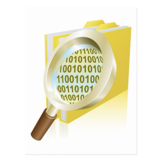 Magnifying glass binary data file folder concept postcard