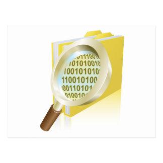 Magnifying glass binary data file folder concept postcard