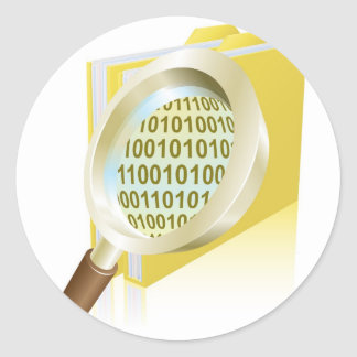Magnifying glass binary data file folder concept classic round sticker