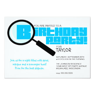 Magnifying Glass Blue Birthday Party Invitation