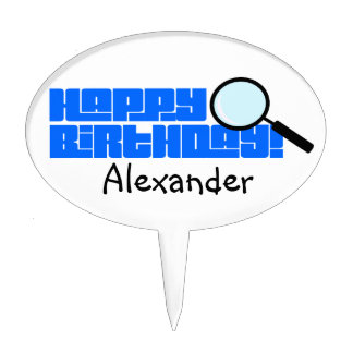 Magnifying Glass Blue Happy Birthday Cake Topper