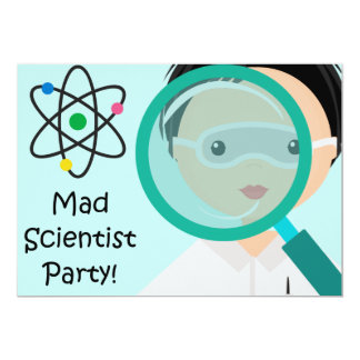Magnifying Glass Boy Scientist Birthday Invitation
