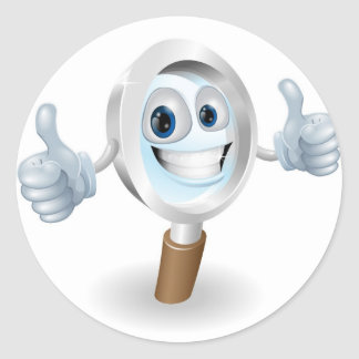 Magnifying glass cartoon character classic round sticker