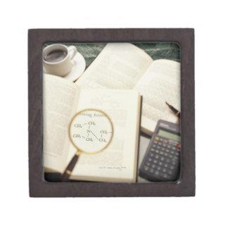 Magnifying glass enlarging molecular diagram keepsake box