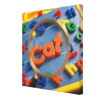 Magnifying glass enlarging view of word CAT Canvas Print