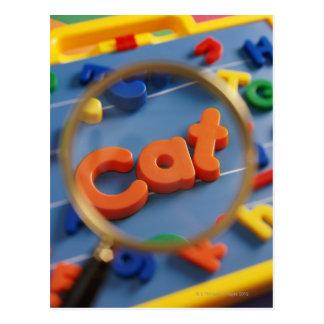 Magnifying glass enlarging view of word CAT Postcard