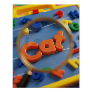 Magnifying glass enlarging view of word CAT Poster