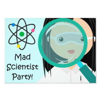 Magnifying Glass Girl Scientist Birthday Invite