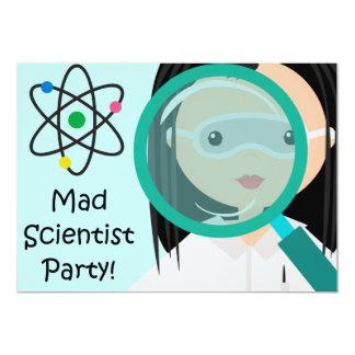 "Magnifying Glass Girl Scientist Birthday Invite 5"" X 7"" Invitation Card"