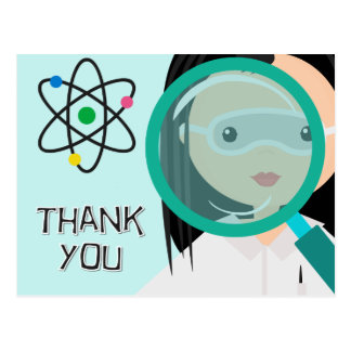 Magnifying Glass Girl Scientist Thank You Postcard