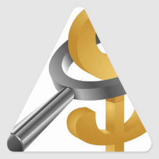 Magnifying Glass Gold Dollar Sign Triangle Sticker