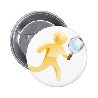 Magnifying glass gold person 2 inch round button