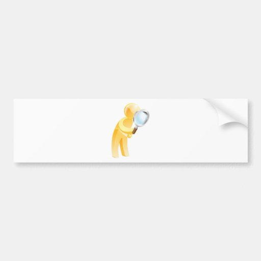 Magnifying glass gold person bumper stickers