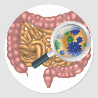 Magnifying Glass Gut Flora Classic Round Sticker